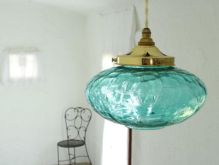 国産ガラスペンダントライトセット 0025ヒビシアン 電球1灯付属 15mono0515-li-0025cy-c