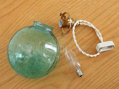 【送料無料】ガラスシェード 国産ガラスペンダントライトセット 0028ヒビシーグリーン 電球1灯付属 15mono LED電球対応0515-li-0028s-c