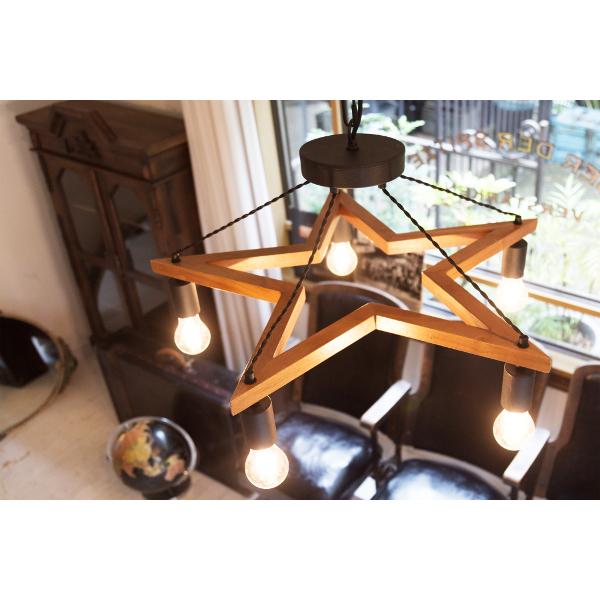 5BULB WOOD STAR LIGHT_L5灯ウッド(×BKスチール)スター型_ペンダントライト[L]サイズ 白熱球(E26/60W)付き LED電球対応可能