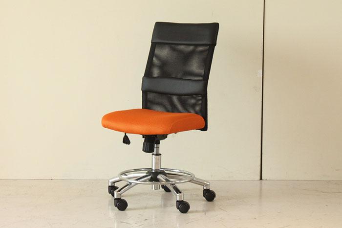 オフィスチェア オレンジ 昇降式 高機能チェア 回転 フットステップ デスクチェア ワークチェアー 椅子【本州玄関前お渡し送料無料】0551-ch-54070890