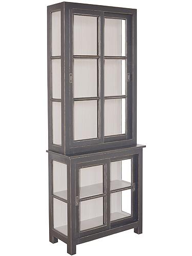 フレンチスタイル LILOU Deco リル ブラックガラスカップボードS antique black色  0809-cb-d721-bk