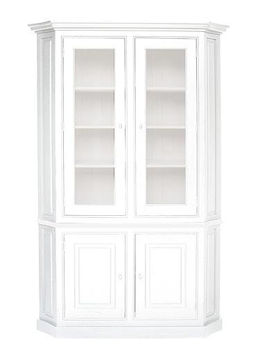 【店内全品ポイント10倍】フレンチスタイル LILOU Deco リル ホワイトガラスカップボード antique white色  0809-cb-d795-wh