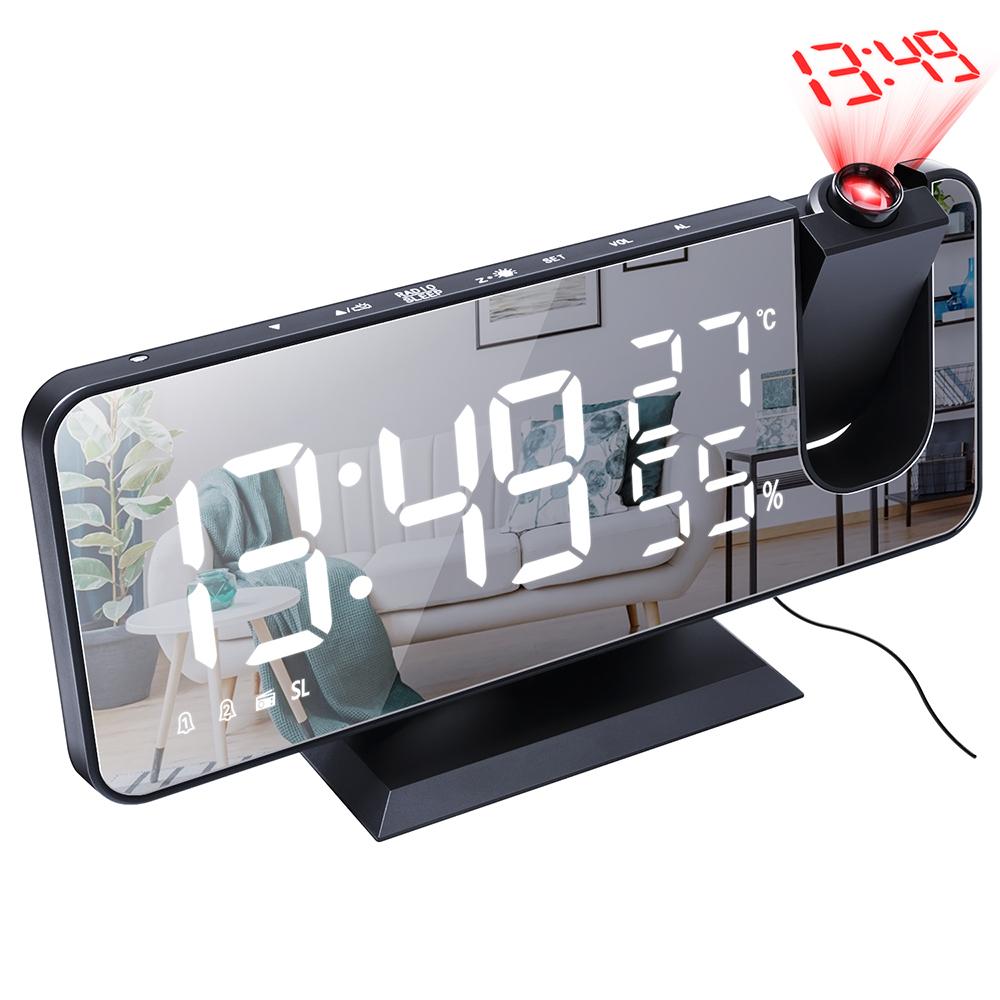 投影ラジオ時計 今ダケ送料無料 デジタル時計 置き時計 在庫一掃売り切りセール 目覚まし時計 影ラジオ時計 黒い背景 ラジオ 白い字 ラジオ時計 デスククロックアラームスヌーズ付き