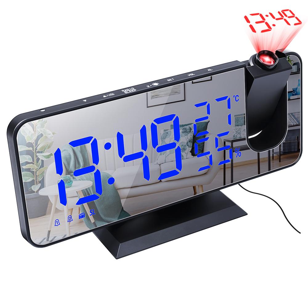 投影ラジオ時計 ランキングTOP10 デジタル時計 置き時計 目覚まし時計 影ラジオ時計 ラジオ 黒い背景 デスククロックアラームスヌーズ付き ラジオ時計 買取 青い字