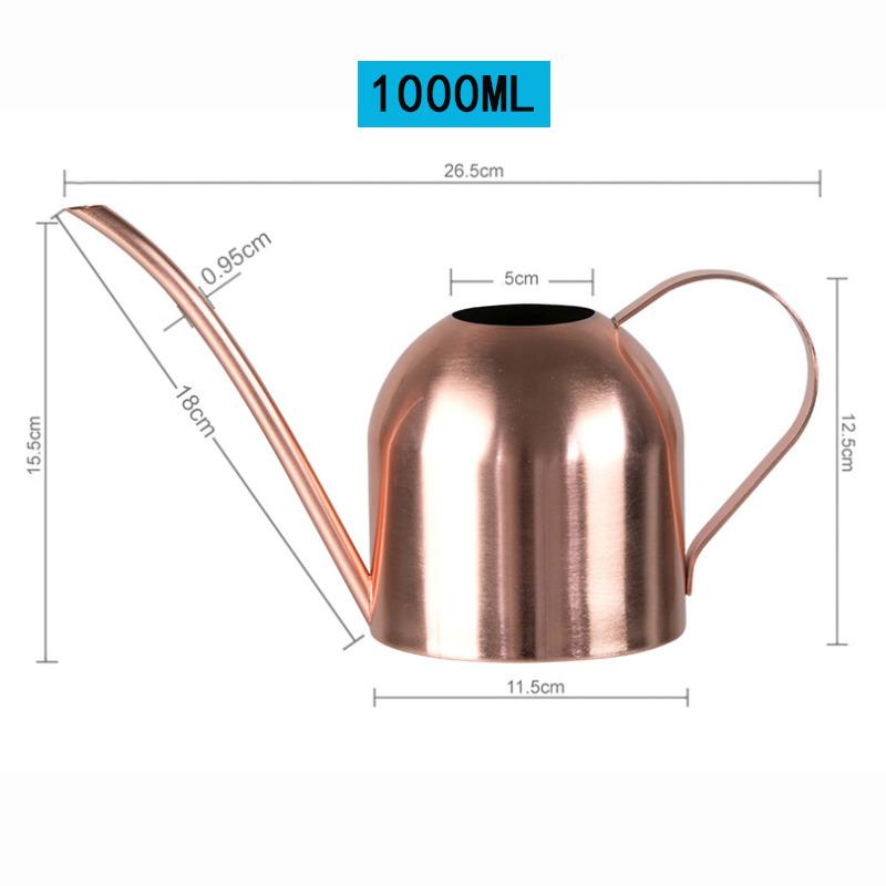 長口じょうろ ステンレス鋼じょうろ 百貨店 庭花植物じょうろ 水やり 高品質新品 ピンク 散水 1000MLケトルガーデニングツール