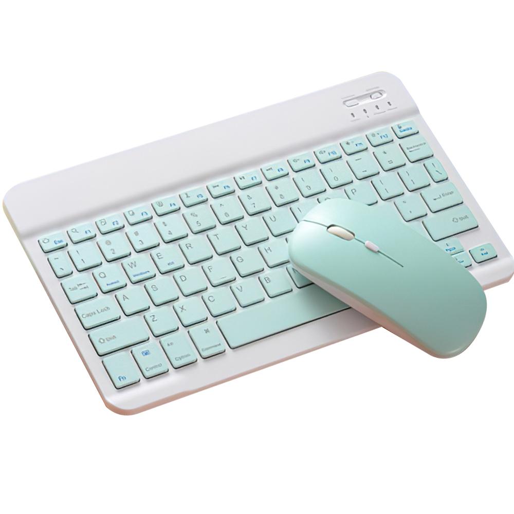 ワイヤレスキーボード マウスセット Bluetooth接続 ポータブル Bluetooth 10インチ充電式 限定モデル 卓出 ゲーム グリーン 作業用超薄型 デュアルモードマウス 78キーPCラップトップ 1注文