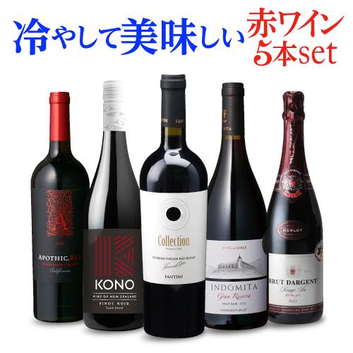 旬感!冷やして美味しい赤ワイン集めました♪ 送料無料 冷やして美味しい赤ワイン 5本セット 3弾 ワインセット 赤ワインセット フランス イタリア オーストラリア アメリカ チリ 氷 オン・ザ・ロック 長S