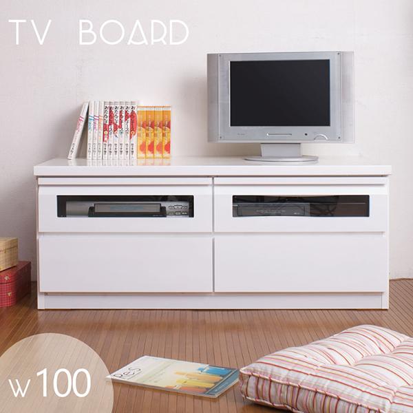 【国産完成品】コード収納付きツヤありテレビボード幅100