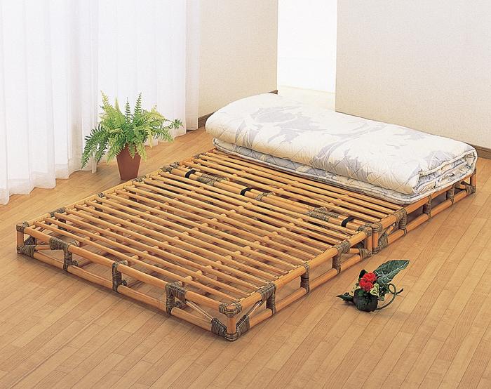 籐枕2個付き!籐すのこ二分割ベッド セミダブルサイズ