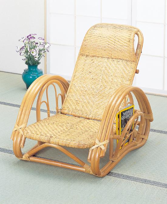 籐リクライニング座椅子ブラウン色