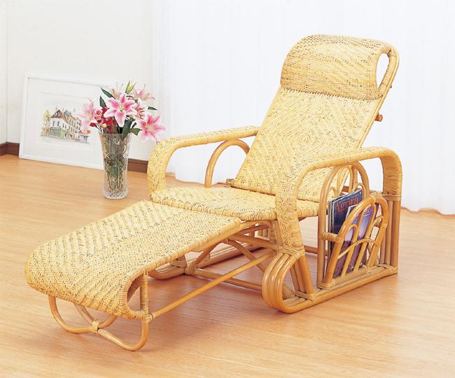 海外輸入 新色追加して再販 籐デラックス三ツ折寝椅子