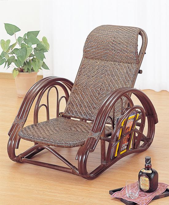 籐リクライニング座椅子ダークブラウン色