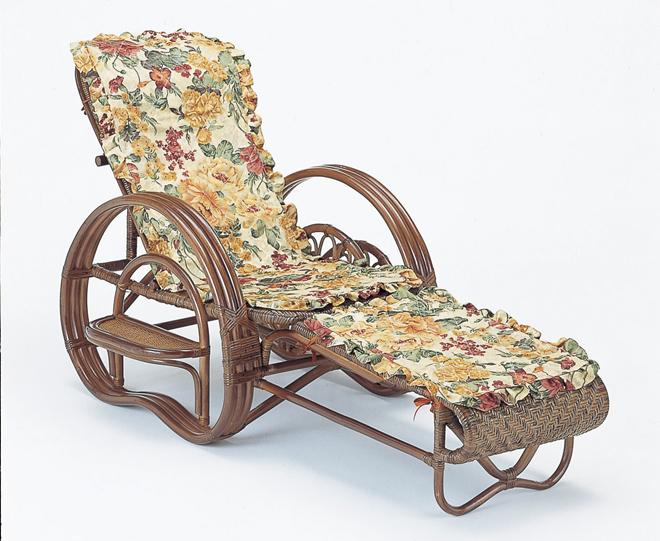 籐三ツ折寝椅子ダークブラウン色タイプファブリックカバー付
