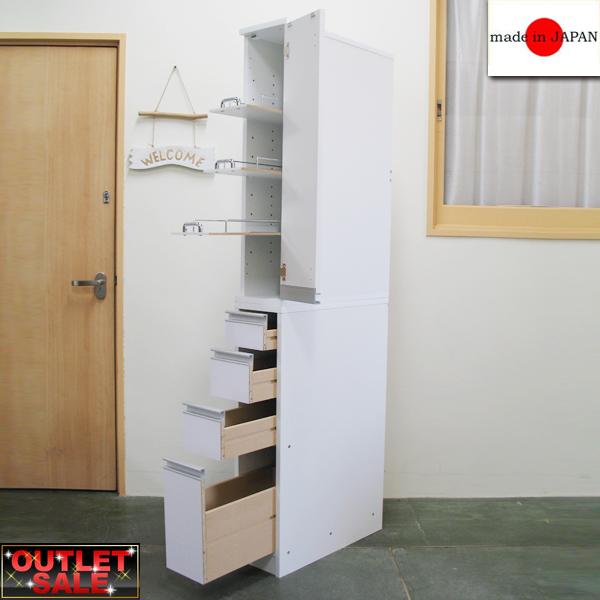 【台数限定アウトレット!】日本製!スライド棚が便利♪すき間ラック(幅20×奥行55cm)豊富なサイズから選べる 光沢仕上げすき間収納庫