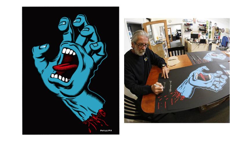 【SANTA CRUZ 】SCREAMING HAND 30 YEAR ANNIVERSARY LIMITED EDITION LTD PRINT サンタクルーズ 1000枚限定 ジム・フィリップス 直筆サイン入り
