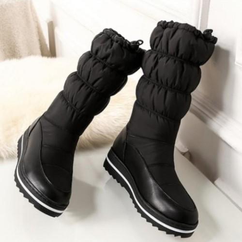 2019年 秋冬 新作 スノーブーツ ブーツ レディース シューズ 22 5cm~27 5cm サイズ 2色 ブラック 黒 ホワイト 白 ミドル丈 バイカラー ウエッジソール ダウン調 ダウンブーツ防寒 暖かい おしゃれ シンプル 無地tdCxBshQr