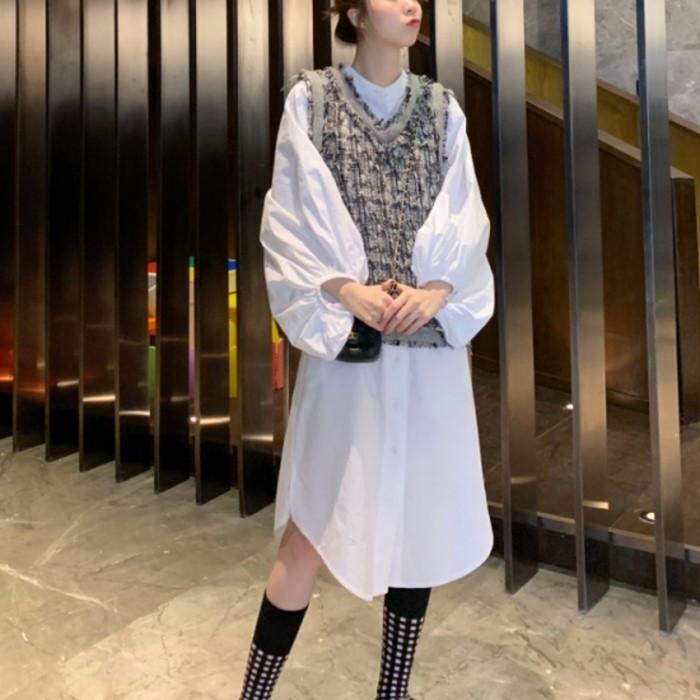 2019年新作 秋 ボリューム バルーン袖 シャツ ワンピース ボリューム袖がインパクトのあるデザインシャツワンピース ベストと好相性 重ね着コーディネート