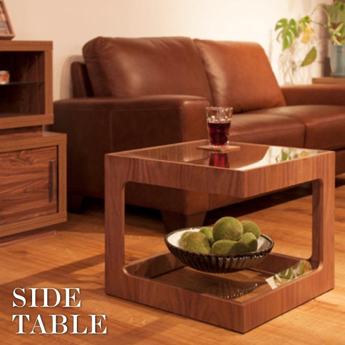 ラウル ガラスサイドテーブル ソファーテーブル リビング おしゃれ テーブル 強化ガラス 天然木 ナイトテーブル 北欧 おしゃれ モダン ナチュラル JST-447