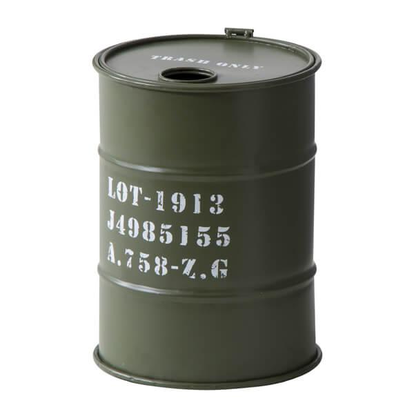 トラッシュカン ダストボックス オールドオイル缶 ゴミ箱 アーミー ミリタリー 小物入れ 蓋付き ラック ストレージ ボックス 工具 キャンプ アウトドア BBQ ガレージ 工具箱 US お洒落 かっこいい 男前インテリア LFS-440GR LFS-440GY LFS-440NV