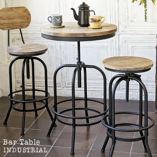 バーテーブル INDUSTRIAL インダストリアル 高さ73~95cm ハイテーブル リフトテーブル ラウンドテーブル テーブル 机 高さ調整 丸型 円形 ブルックリン アンティーク 幅60cm ヴィンテージ KNT-A401 送料無料