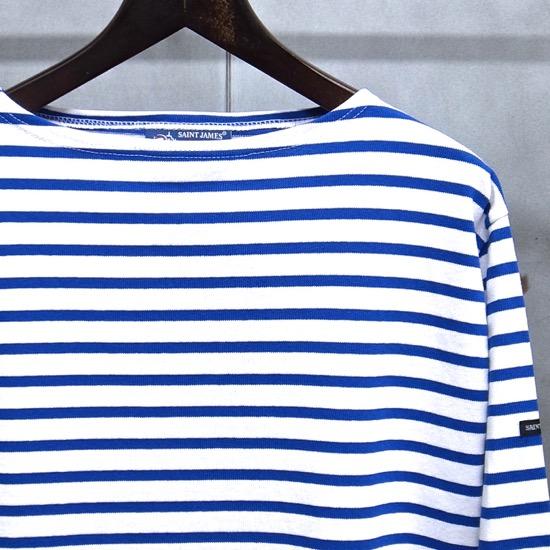 【 SAINT JAMES / セントジェームス 】 OUESSANT BORDER / ウエッソン ボーダー ボーダーバスクシャツ 長袖ボーダーTシャツ ◆NEIGE×GITANE[ホワイト×コバルトブルー]日本正規代理店商品