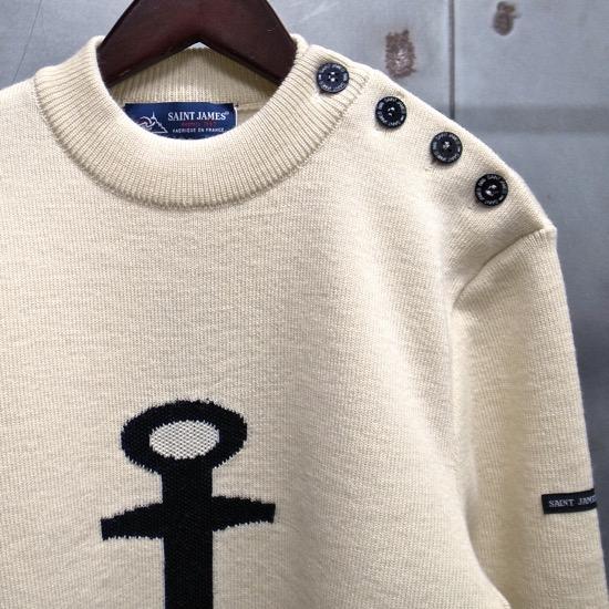 【 SAINT JAMES / セントジェームス 】 16JL MAT. U ANCRE / メンズ アンカー柄 肩ボタンセーター ◆ECUME×NAVY[生成り×ネイビー] マリンセーター 日本正規代理店商品