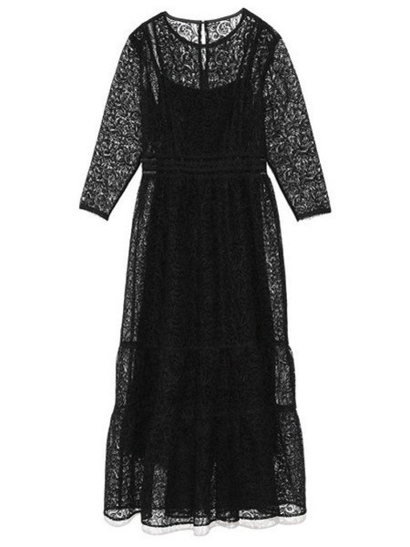 [Rakuten Fashion]【SALE/40%OFF】チュールレースドレス Lily Brown リリーブラウン ワンピース ワンピースその他 ブラック ベージュ パープル【RBA_E】【送料無料】