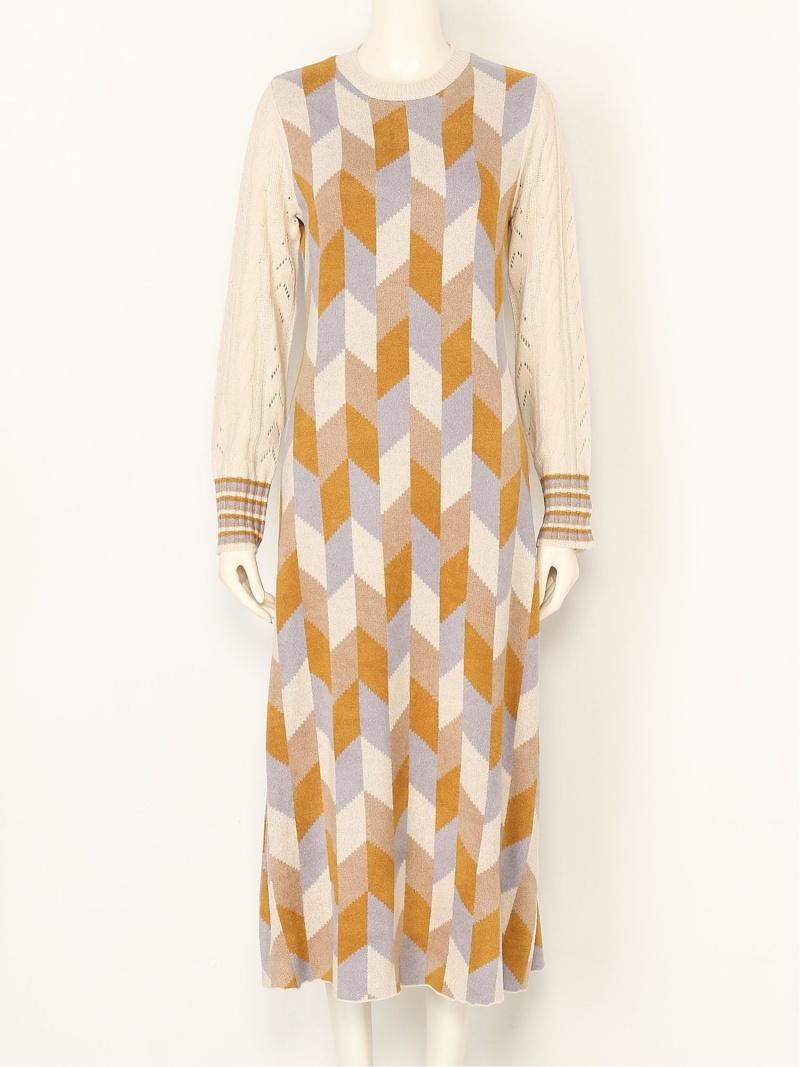 [Rakuten Fashion]【SALE/20%OFF】カラーブロックニットワンピース Lily Brown リリーブラウン ワンピース ニットワンピース ベージュ ブラウン【RBA_E】【送料無料】