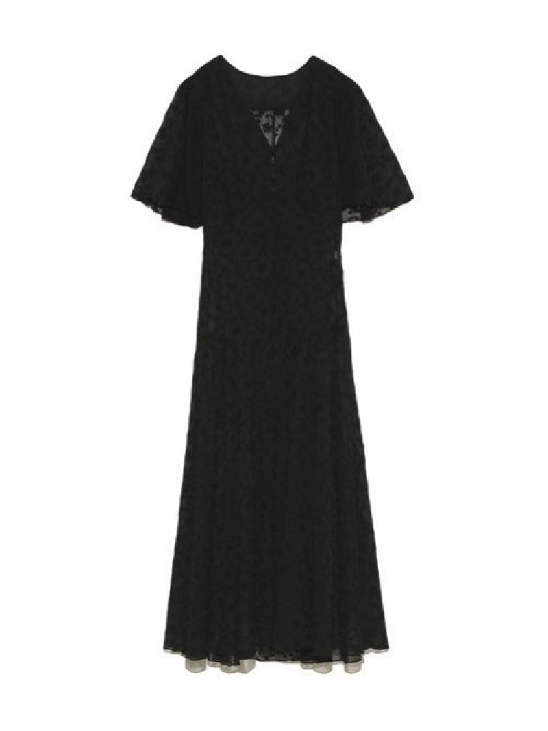 [Rakuten Fashion]刺繍シフォン2WAYワンピース Lily Brown リリーブラウン ワンピース 半袖ワンピース ブラック グリーン ホワイト【先行予約】*【送料無料】