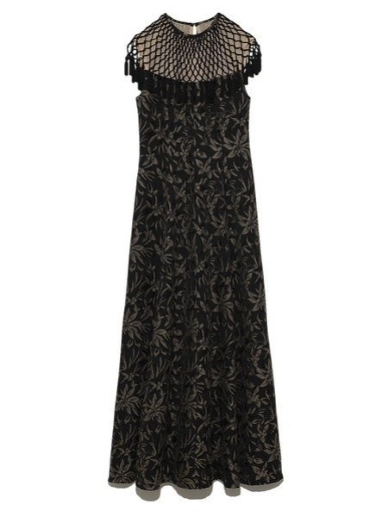 [Rakuten Fashion]マクラメジャガードロングドレス Lily Brown リリーブラウン ワンピース ロングワンピース/マキシワンピース ブラック【送料無料】