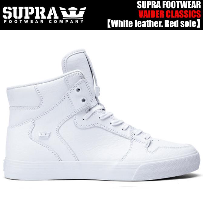 SUPRA VAIDER CLASSICS S28295 / WWR White leather. Red sole.