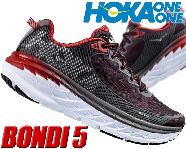 HOKA ONE ONE BONDI 5 black/formula one 【ホカオネオネ ボンダイ 5 スニーカー メンズ ランニングシューズ ホカ オネオネ ブラック レッド】