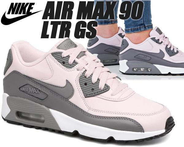 NIKE AIR MAX 90 LTR GS barely rose/gunsmoke-white 833376-601 【ナイキ エアマックス 90 レディース スニーカー ウィメンズ キッズ ランニングシューズ ピンク グレー】