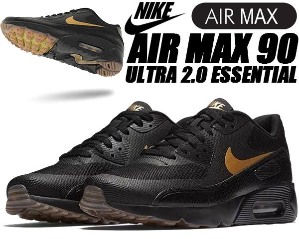 the best attitude f867d cd379 NIKE AIR MAX 90 ULTRA 2.0 ESSENTIAL black metallic gold ナイキ エアマックス 90 ウルトラ  スニーカー メンズ エア マックス ブラック ゴールド ランニング ...