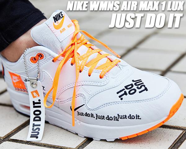 NIKE WMNS AIR MAX 1 LUX JUST DO IT white/black-total orange 917691-100 ナイキ ウィメンズ エアマックス 1 JDI メンズサイズ スニーカー ホワイト エア マックス 1 ラックス