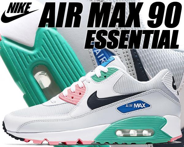 NIKE AIR MAX 90 ESSENTIAL white/obsidian-pure platinum-blanc 【ナイキ エアマックス 90 エッセンシャル スニーカー メンズ エア マックス 90 ランニングシューズ ホワイト ピンク グリーン】