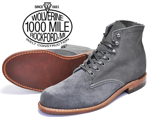 【ウルヴァリン 1000マイルブーツ】WOLVERINE 1000MILE BOOTS GREY SUEDE MADE IN USA w40193 グレースエード プレーントゥ メンズ ワーク ブーツ スウェード