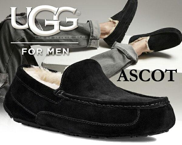 【アグ アスコット メンズ】UGG MENS ASCOT BLACK【モカシンシューズ メンズ ファー スリッポン ブラック ムートン】
