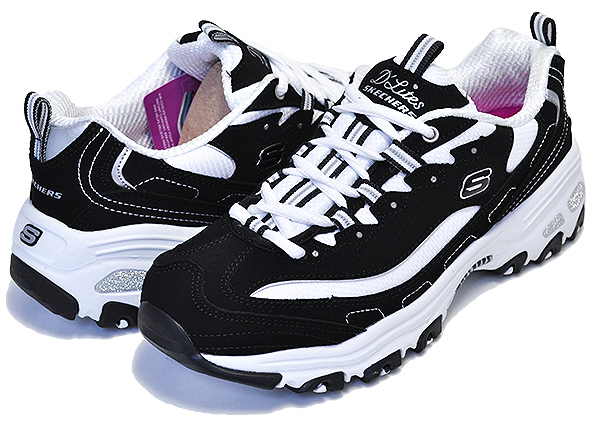 SKECHERS D LITES BIGGEST FAN BLACKWHITE Lady's thickness bottom sneakers MEMORY FOAM 11930 bkw ダッドシューズ DAD SHOES