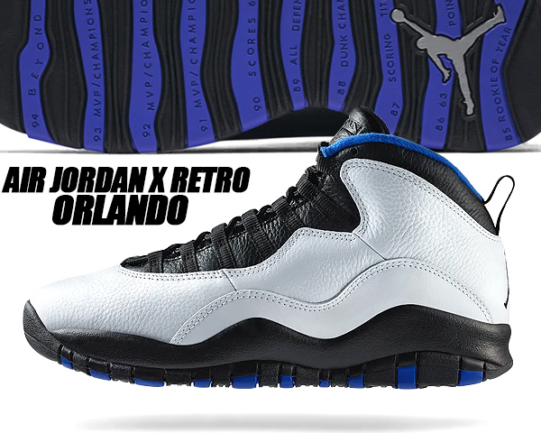 "AIR JORDAN 10 RETRO /""ORALNDO/"" 310805-108 White Black Royal Blue Men/'s Sneakers"