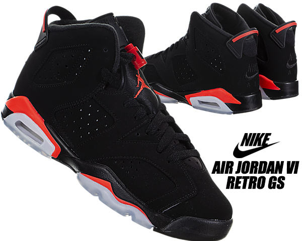 huge selection of c48e0 dfbb5 NIKE AIR JORDAN 6 RETRO(GS) black/infrared 384,665-060 Nike Air Jordan 6 GS  sneakers Lady's girls women AJ VI infrastructure red