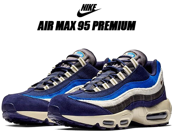 newest d01ea d8483 NIKE AIR MAX 95 PREMIUM blackend blue/camper green Kie Ney AMAX 95 premium  sneakers men Air Max 95