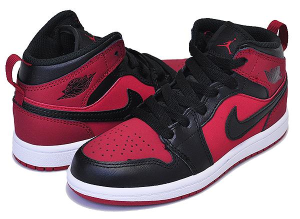 NIKE JORDAN 1 MID (PS) gym red/black-white 【ナイキ ジョーダン 1 キッズスニーカー AJ1 AIR JORDAN 16.5cm ~ 22cm 子供靴 プレスクール】