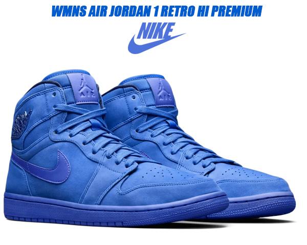 NIKE WMNS AIR JORDAN 1 RETRO HI PREMIUM blue void/racer blue 【ナイキ ウィメンズ エアジョーダン 1 ハイ スニーカー レディース AJ1 プレミアム ブルー ヌバック】