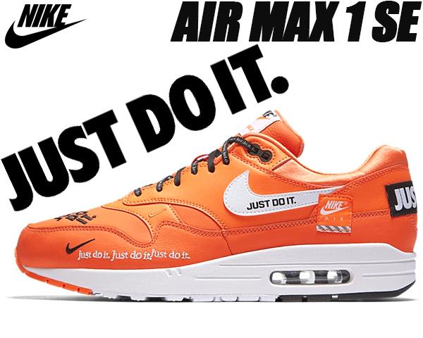 3947965a3679 NIKE AIR MAX 1 SE JUST DO IT ao1021-800 total orange white-black ナイキ エアマックス 1  JDI スニーカー エア マックス 1 ジャスト ドゥ イット トータル オレンジ