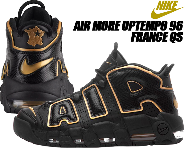 details for classic styles hot product NIKE AIR MORE UPTEMPO 96 FRANCE QS black/metallic gold