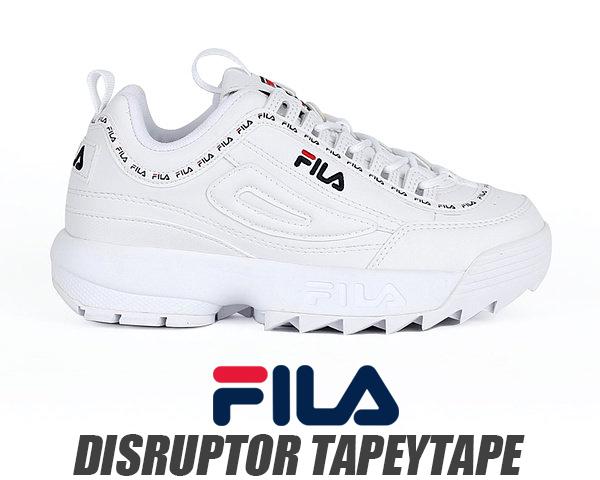 FILA DISRUPTOR TAPEYTAPE WHITE フィラ ディスラプター 2 厚底 スニーカー プラットフォーム テープ DAD SHOES ホワイト fs1htb1091x wwt