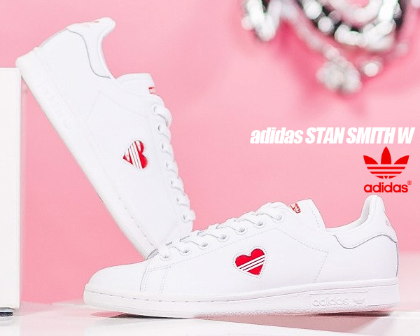 stan smith trainers white red heart