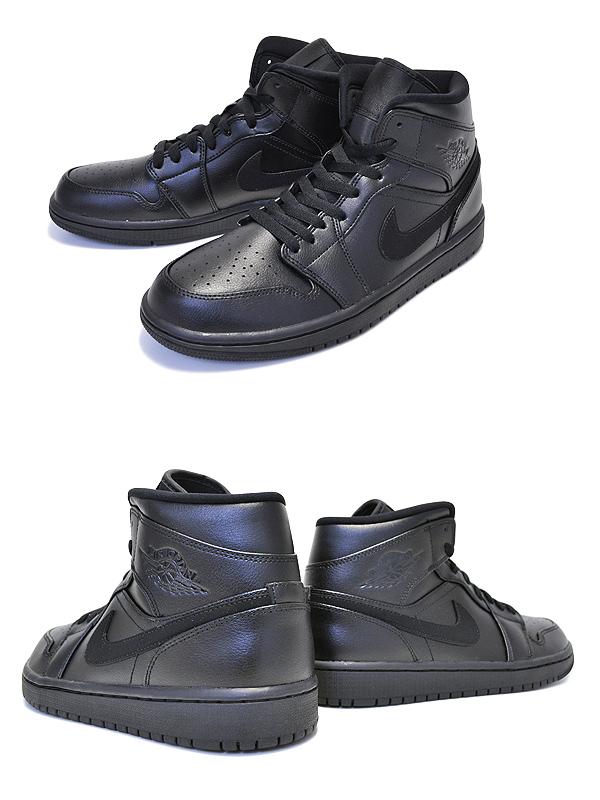 official photos 27f52 05227 NIKE AIR JORDAN 1 MID black/black-black 554,724-090 Nike Air Jordan 1 mid  sneakers TRIPLE BLACK AJ black black