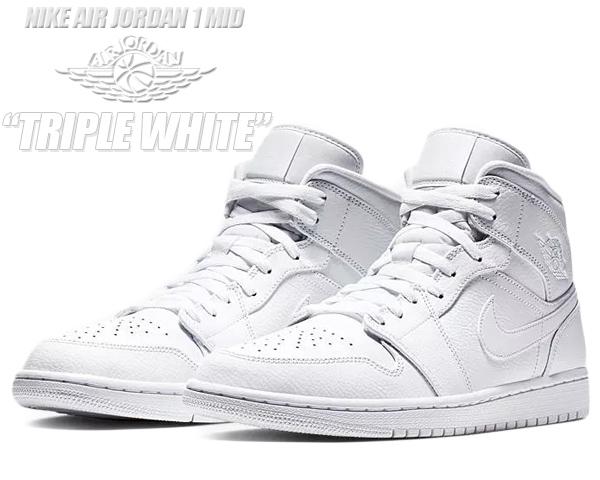 NIKE AIR JORDAN 1 MID white/white-white 554724-129 ナイキ エアジョーダン 1 ミッド スニーカー AJ1 ホワイト 白